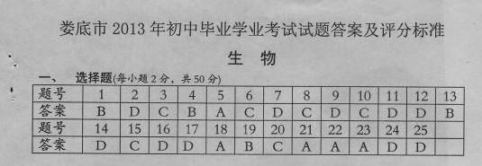 2013年湖南娄底中考历史答案