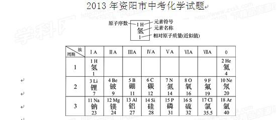 2013年四川资阳中考化学真题