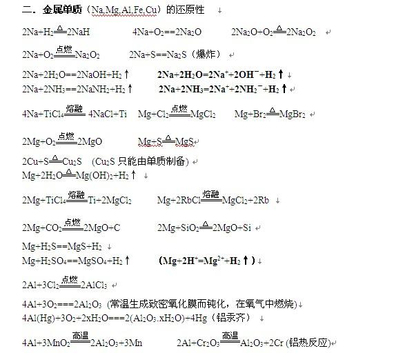 高考化学方程式公式