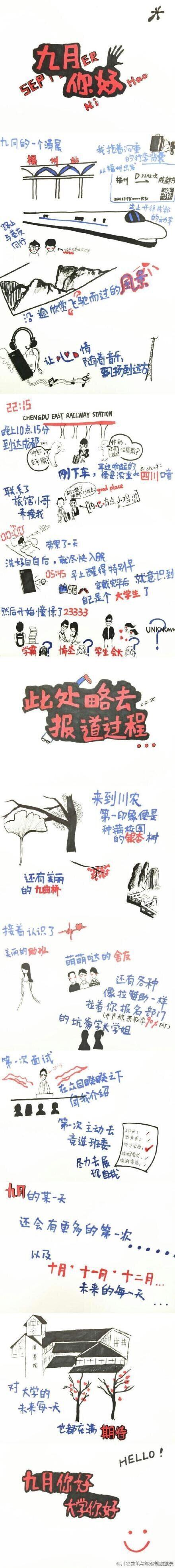 四川农业大学新生手绘萌版入学图(图)