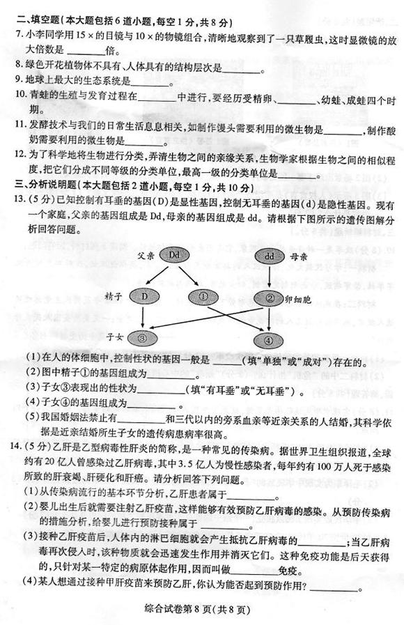 甘肃酒泉2014中考生物试题