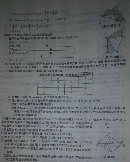浙江温州2014中考数学试题