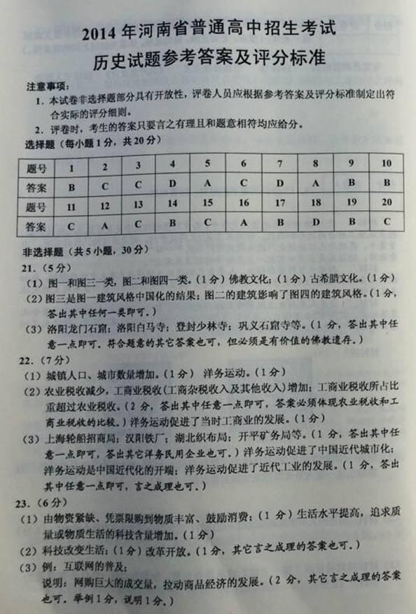 2014年中考试题及答案汇总
