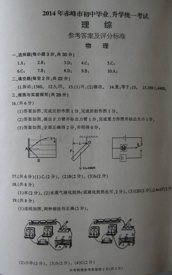 内蒙古赤峰2014中考物理试题答案