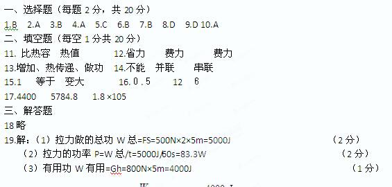 2015江苏沛县初三上学期物理期末考试答案