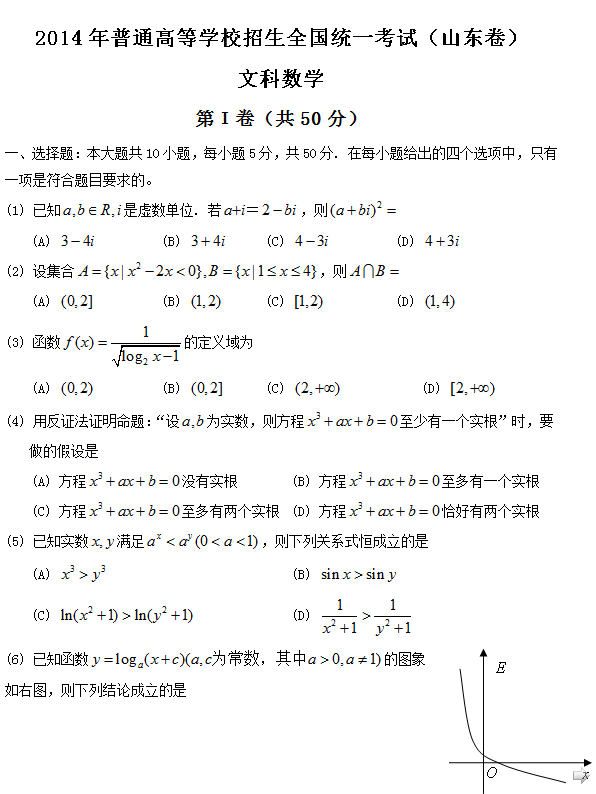 2014年山东卷高考文科数学试题及答案