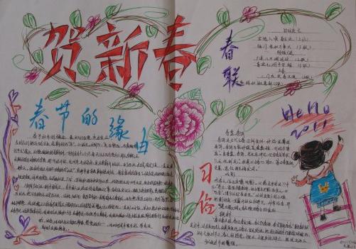 关于春节的手抄报:贺新春