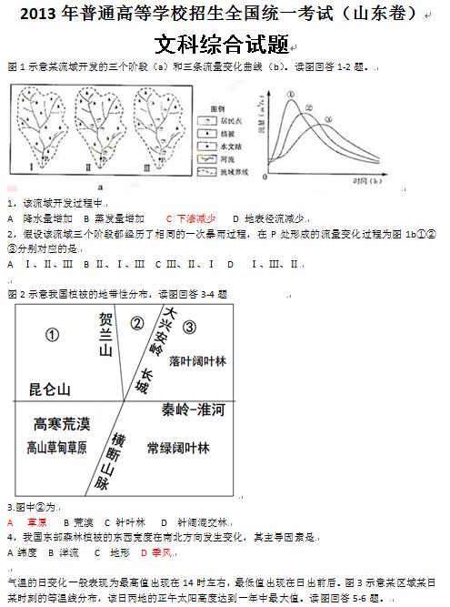 山东2013高考文科综合试题及答案(下载版)