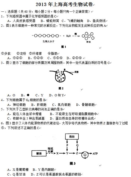 上海2013高考理综试题及答案(下载版)