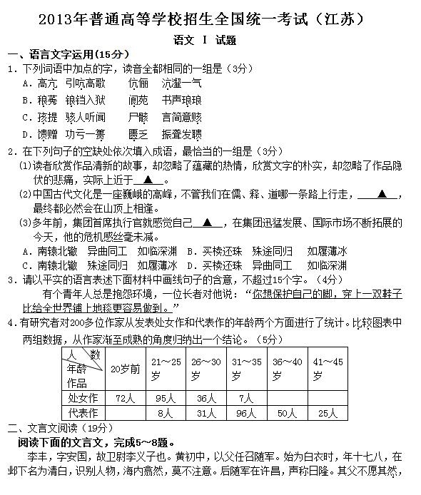 2012年江苏高考语文试题及答案