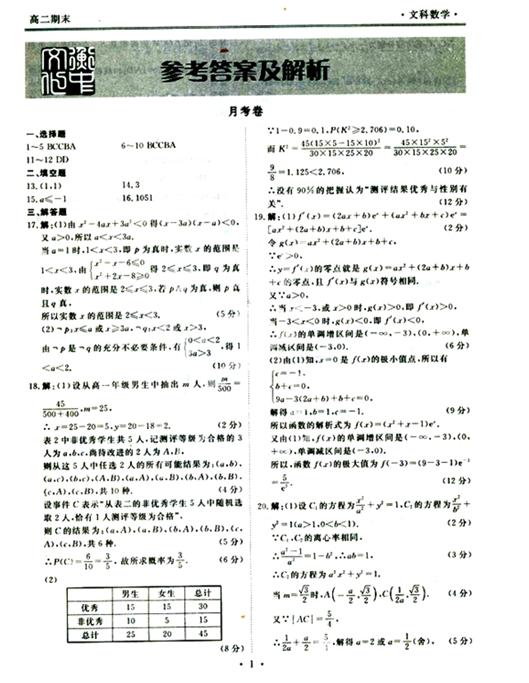 2015年衡水中学高二期末考试数学文试卷及答