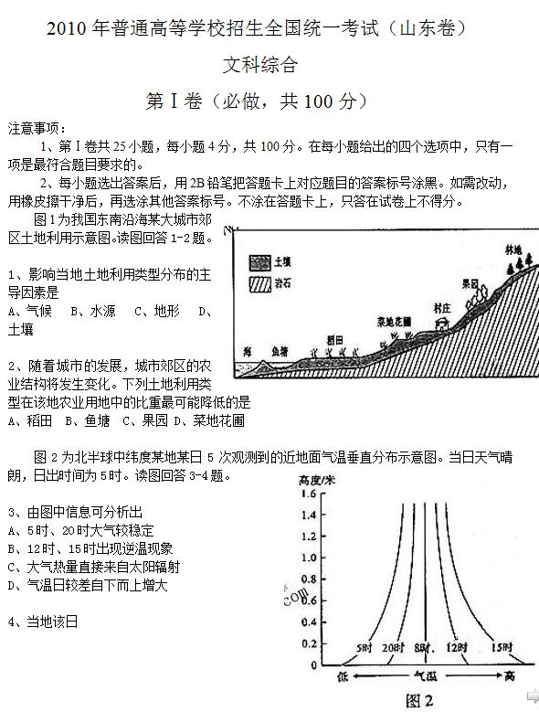 2010年山东高考文科综合试题及答案