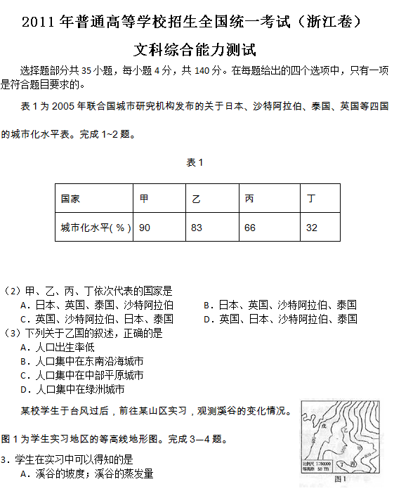 2011年浙江高考文科综合试题及答案