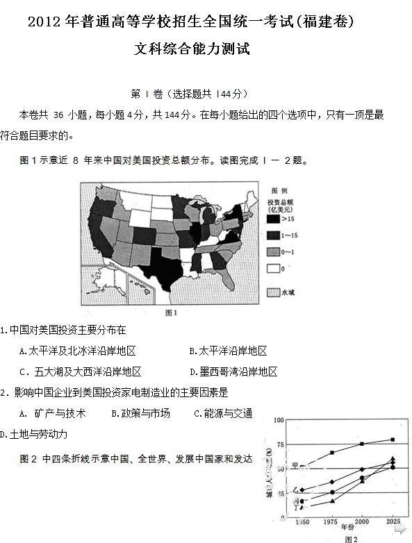 2012年福建高考文科综合试题及答案