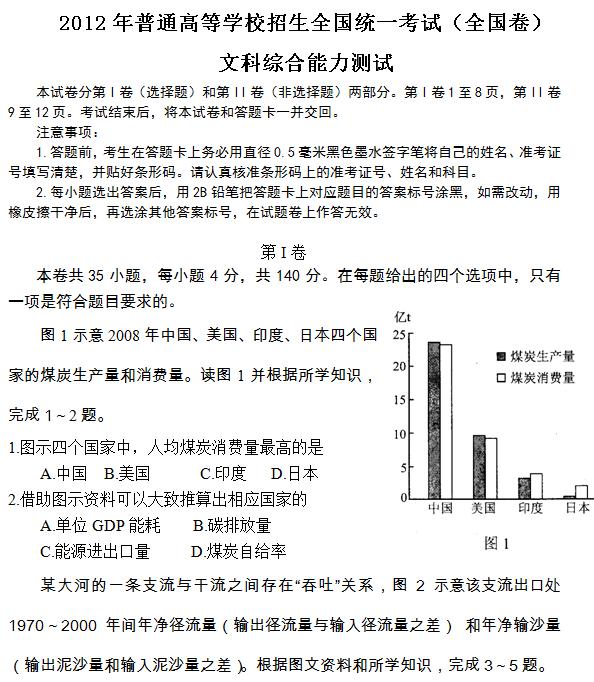 2012年全国卷高考文科综合试题及答案