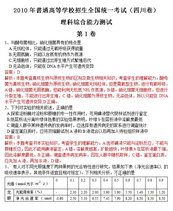 2010年四川高考理科综合试题及答案