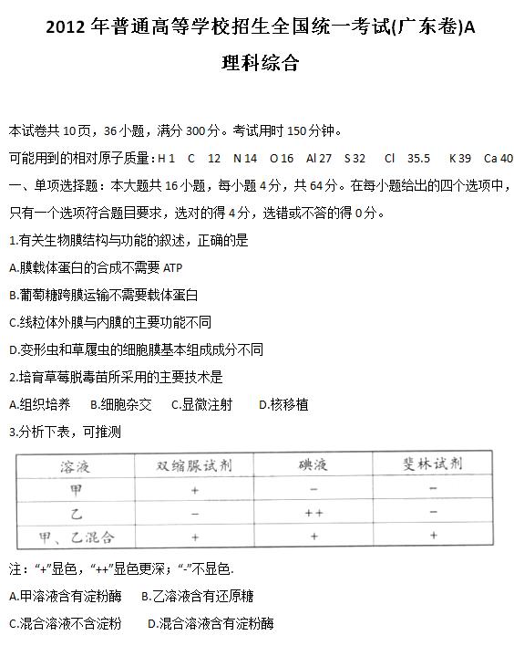 2012年广东高考理科综合试题及答案