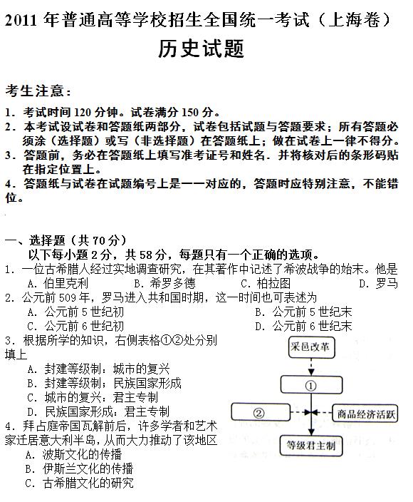 2011年上海高考文综试题及答案