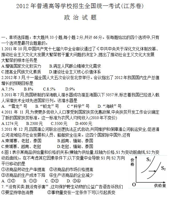 2012年江苏高考政治试题及答案