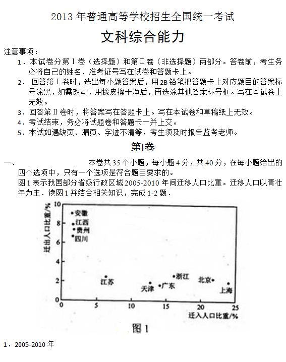 2013年新课标II高考文综试题及答案