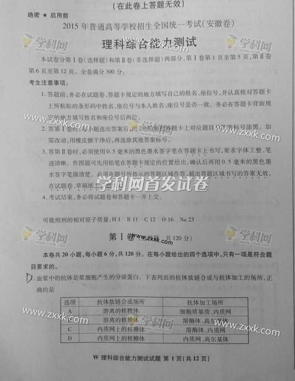 2015安徽高考理科综合试卷