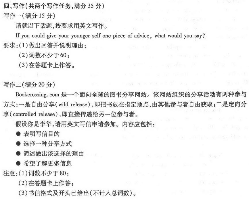 高考英语作文题目,信