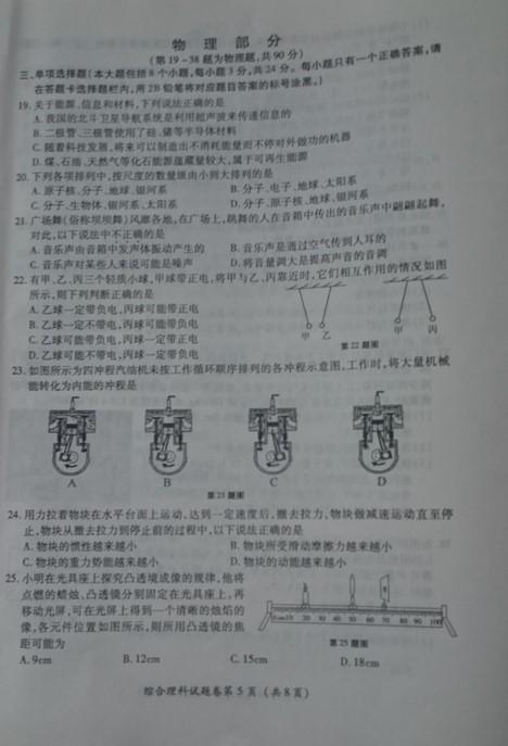 2015贵州遵义中考物理试卷及答案