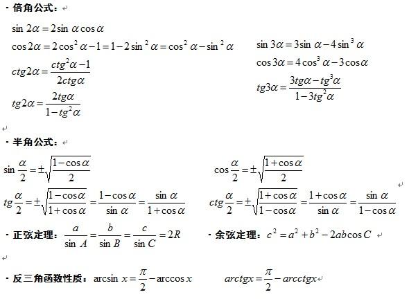 2017考研数学公式三角函数图片