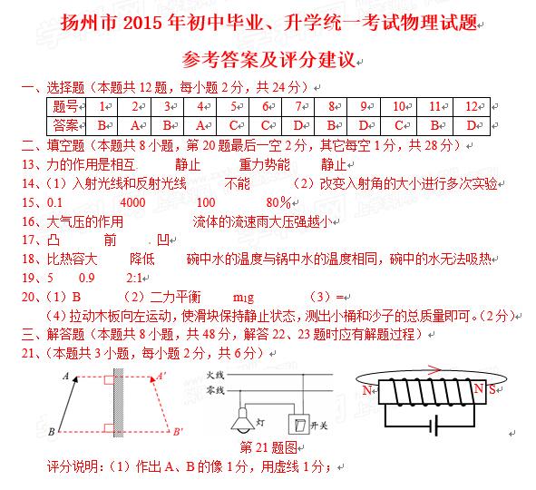 2015江苏扬州中考物理答案