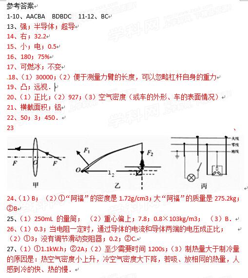 2015江苏无锡中考物理答案
