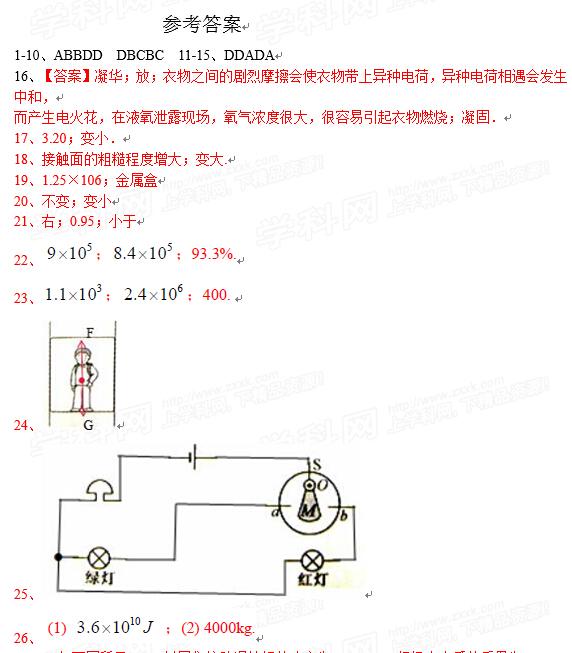 2015江苏常州中考物理答案