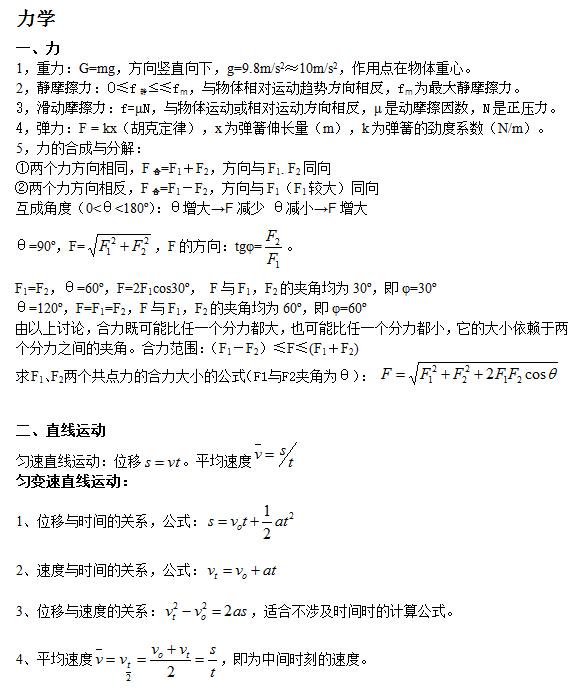 2018高考复习:高中物理公式大全