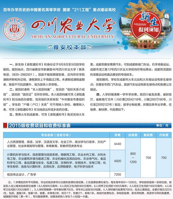 四川农业大学2015年新生入学须知图片
