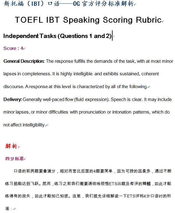 托福口语官方评分标准+常见106个语法问题(资料下载)