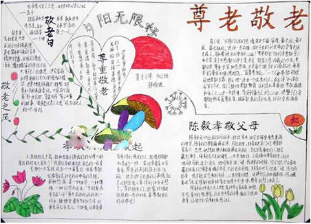 关于重阳节的手抄报:尊老敬老图片