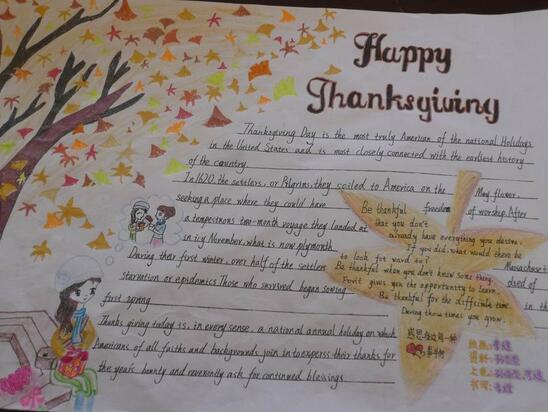 感恩节英语手抄报 感恩图片