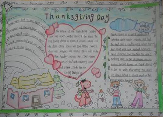 感恩节英语手抄报图片:感恩节的来历