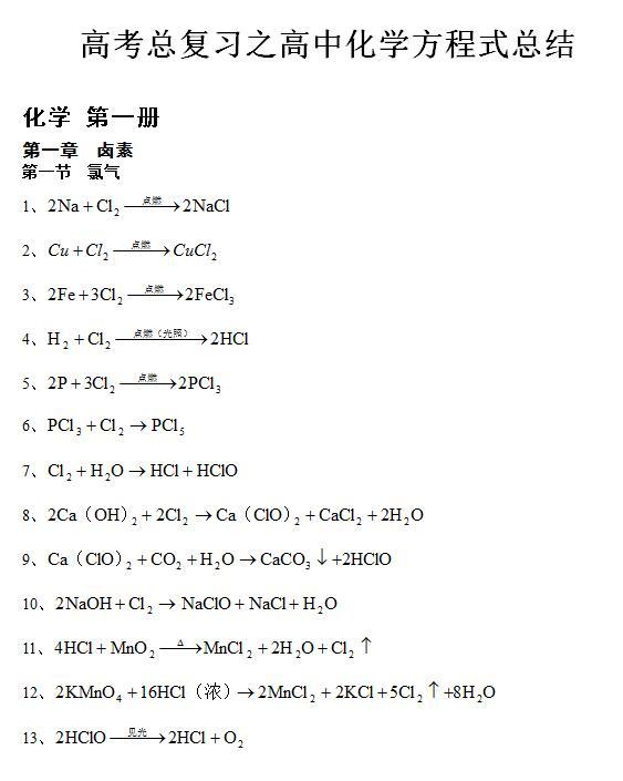 化学常用方程式
