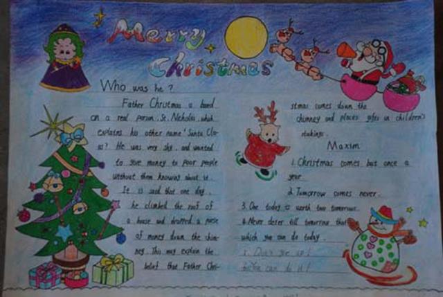 少儿英语手抄报:圣诞好快乐