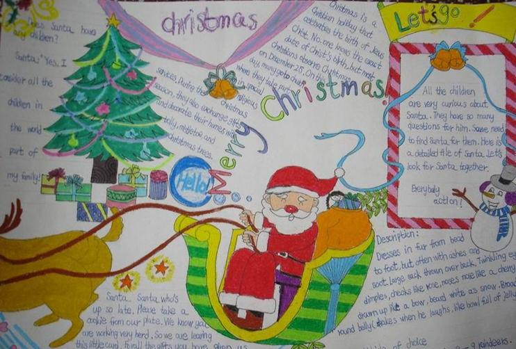 节手抄报图片:圣诞老人给大家作为复习资料,希望同学们能够认真练习