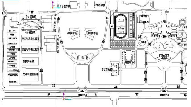 市实验中学平面图   考场分布:励志楼1-34考场,尚勤楼35-50考场.