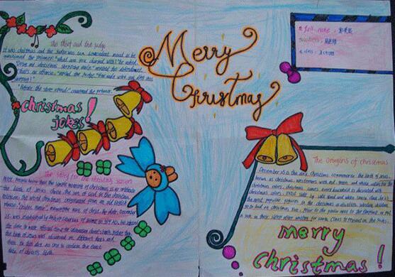有关的装饰物,同学们也要开始做关于圣诞节英语手抄报来庆祝这个节日.