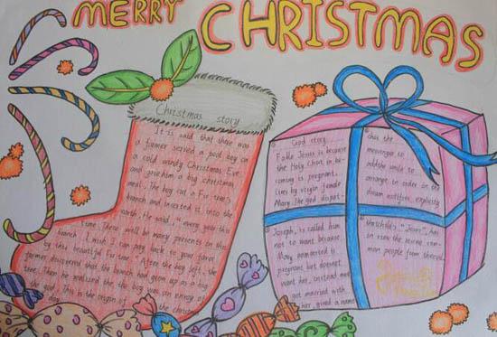 圣诞节英语手抄报图片:圣诞礼物