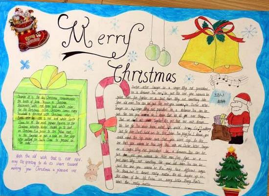 圣诞节英语手抄报图片:快乐的圣诞
