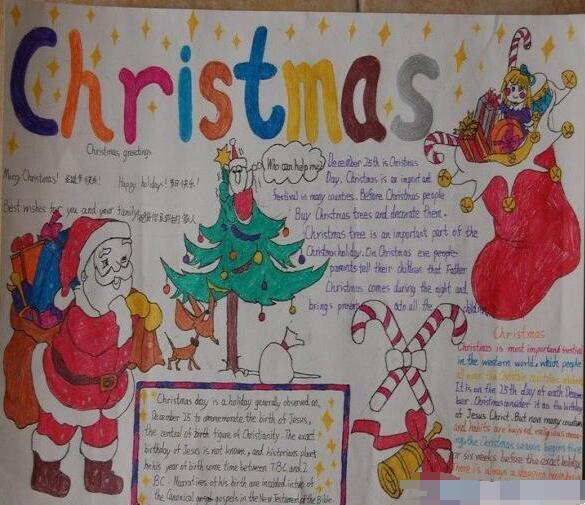 圣诞节英语手抄报:圣诞老人的礼物