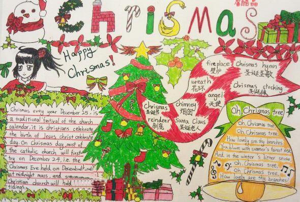 圣诞节英语手抄报:热闹的圣诞节