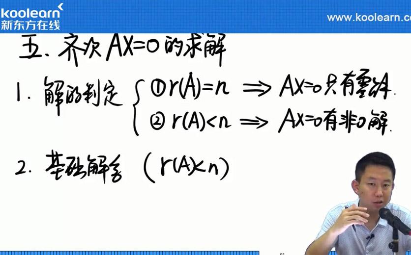 新东方在线张宇:齐次线性方程组和非齐次线性方程组求解