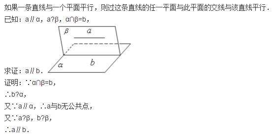 高中数学复习:直线与平面平行的性质定理