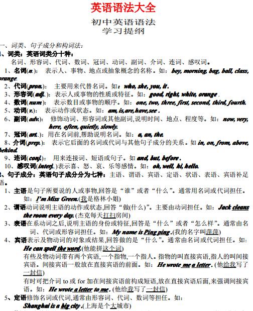 中考生下载:初中英语大全初中(必读版)全椒县排名语法图片