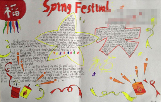 春节英语手抄报:过年的习俗